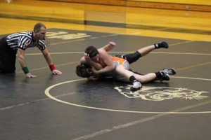 (Photos by Kenn Staub) Austin Holz (160lbs.) in control of his opponent