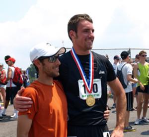 Head Track Coach Ben Bevevino and Bryce Straffin
