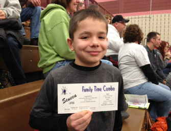 Ethan Burford Wins A Bowling Outing At Halftime Of Clarion – Cranberry Basketball Game (01/21/14)