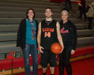 Roland and his mother, Amy (Clarion Jr. High girls coach) and sister Liz (a former Bobcat player)