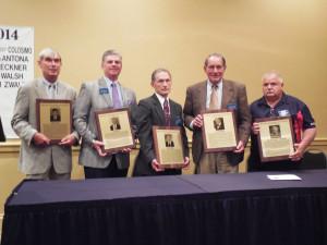 "PSFCA 2014 Hall of Fame Class (L-R) Drew Zwald (for father, Norm Zwald), Joe Walsh, Ray Reckner, Joe DeAntona, William ""Muzzy"" Colosimo"