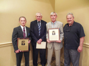 D-9 History: Over 500  wins and 55 years of Head Coaching experience: (L-R) Brockway's Ray Reckner, Clarion's Ray Austin, Drew Zwald for his dad Norm, Clarion and Ridgway and Clarion's Larry Wiser