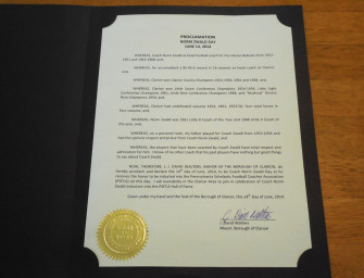 "Saturday, Proclaimed ""Norm Zwald Day"" In Clarion Borough (06/12/14)"