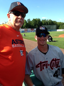 (Photo by Lori Henry) Jon, with his father Ed, before game between Tri-City and Mahoning Valley in 2013