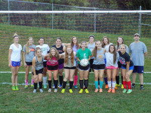 2016 Lady Cats Soccer: Front Row(L-R) : Megan Stahlman(9th), Lauren Troutman(9th), Rachel Grabiak(11th), Courtney Schonbachler(Captain 12th), Hannah Phillips(Captain 12th), Forest Mills(Captain 12th), Jenna Omecinski(12th). Back Row (L-R) : Ashley Montgomery (Volunteer assistant Coach), Gabby Weaver(11th), Alexa Hannold(11th), Lindsay Kemmer(10th), Alexa Kriebel(11th), Wendy Beveridge(10th), Hope Hazlett(11th), Natalie Glenn(11th), Chris Schonbachler (Head Coach)