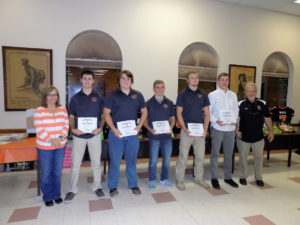 Bobcat All-Conference Players (L-R) Spencer Miller, Zak Bauer, Colton Rapp, Thomas Wurster and Ty Burford flanked by Athletic Director Nancy Mills and Coach Wiser