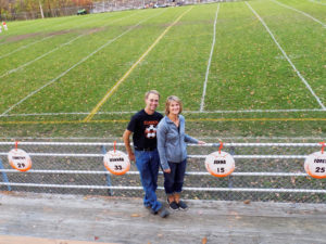 Clarion Soccer Booster President, Rose Weaver and husband Paul on Senior Night with great displays they made for the Seniors