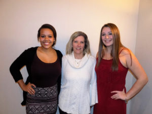 Lady Cat All-Staters, Gloria Kroh (Left) and Olivia Burns (Right) with proud Coach Shari Campbell