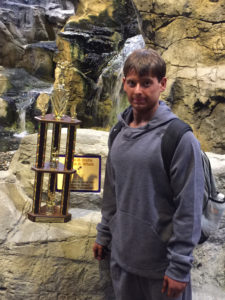 Will with his first place trophy for winning the Teenage Division of the 2016 Mid-Atlantic Grand Prix in Wheeling, WV (taken by K. Staub)