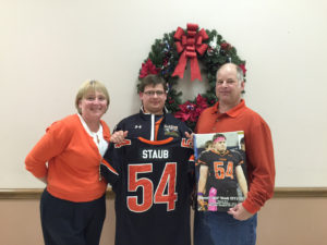 Will with his parents, Kenn and Susan Staub, at the 2016 Clarion Area Football Banquet following his senior season