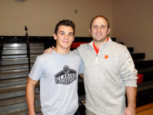 Coach Luton with Mike LeFay who won both of his matches